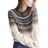 SLYZ 2020 Otoño E Invierno Nuevo Suéter con Costuras A Cuadros De Cuello Redondo para Mujer Blusa De Punto Informal Suelta