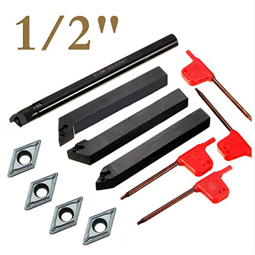 """4 Piece 1/2"""" Mini Lathe Indexable Carbide Turning Tool Holder Bit Set With 4PCS DCMT21.51 Indexable Carbide Turning Insert"""