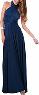 Sexyshine Women's Backless Gown Dress Multi-Way Wrap Halter Cocktail Dress Bandage Bridesmaid Long Dress