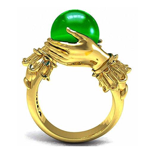 EVBEA Anillos Mujer Esmeralda Gran Piedra Preciosa