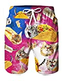 Mens 3D Cool Swim Trunks Rose Red Pizza Cats Graphic Quick Dry Beach Swimming Surf Board Shorts with Pocket Swimwear Guys Novelty Big and Tall Bathing Suits with Mesh Lining Side Pockets XL