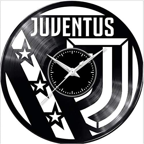 Fusorario Orologio in Vinile da Parete LP 33 Giri Silenzioso Idea Regalo A Tema Juventus