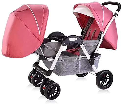 Knoijijuo Twin Kinderwagen für Jungen und Mädchen mit Verstellbarer Rückenlehne Double Face to Face mit Stoßdämpfer Komfortable Folding Trolley,C
