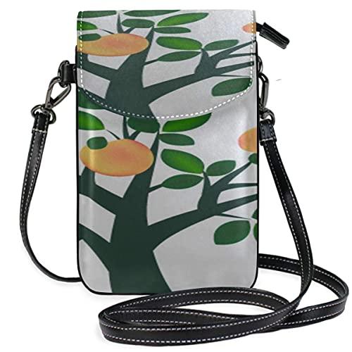 VJSDIUD bolsa de hombro Leather Purse Crossbody Bag Garden Drawing Fruit Apple Tree Print Phone Bag Men Bags Phone Purse Wallet Travel Passport Bag Handbags For Women