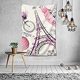 Tapiz hippie, diseño de la Torre Eiffel de París rosa, decoración de dormitorio indio, tapiz psicodélico para colgar en la pared, decoración étnica, 101,6 x 152,4 cm