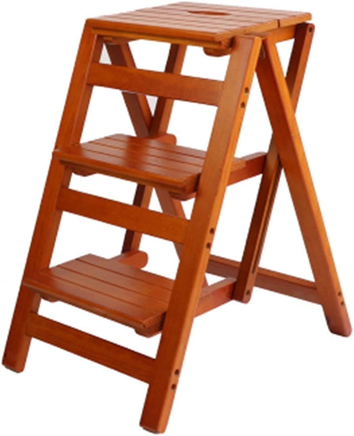 JDQ-3 Step Folding Step Stool, Solid Wood Thick Non-Slip Safety Stable Ladder, Living Room Kitchen Library Flower Stand