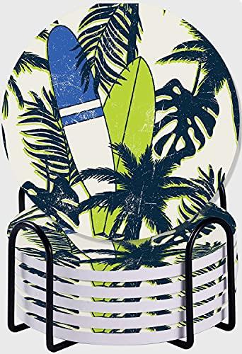 CIKYOWAY Posavasos para Bebidas,Patrón sin Costuras de Tabla de Surf de Verano Tropical Juego de 6 Posavasos absorbentes con Soporte de Metal/Fondo de Corcho,para Casa Restaurante Y Bar