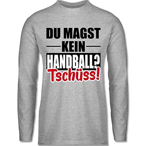 Shirtracer Handball WM 2019 - Du magst kein Handball? Tschüss! - XL - Grau meliert - BCTU005_Herren_Langarm - BCTU005 - Herren Langarmshirt