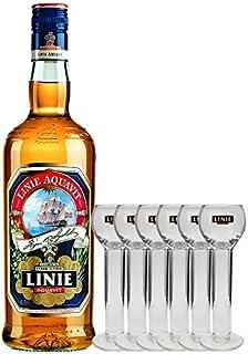 Linie Aquavit Norwegische Spezialität 1,0 Liter  6 Gläser 2cl mit Aufschrift