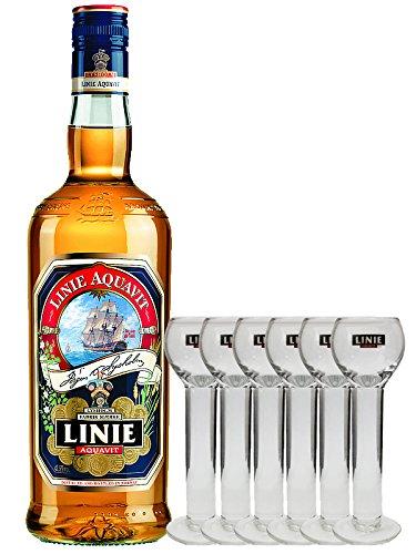 Linie Aquavit Norwegische Spezialität 1,0 Liter + 6 Gläser 2cl mit Aufschrift