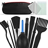 Portable Anti Static Brushes Cleaning Dust Kit with Waterproof Storage Bag for PC Keyboard Laptop Screen Camera Lens Car Interior Detailing, Air Blower Dust Blaster, Cleaning Cloths(Set of 12)