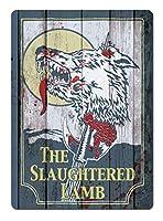 屠殺された子羊のティンサイン壁鉄の絵レトロプラークヴィンテージメタルシート装飾ポスター面白いポスターバーガレージカフェの家のための工芸品をぶら下げ