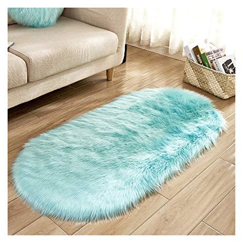 Många val av vackra oval konstpäls, artificiella fårskinnsfällar, tvättsittdynor, fluffiga mattor, fluffig ull, mjuka vardagsrum mattor (Color : Light blue, Size : 60x120cm)