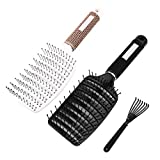VICKYLEE 2 spazzole curve ventilate per lo styling dei capelli da barbiere, strumenti per lo styling ad asciugatura rapida (bianco+nero)