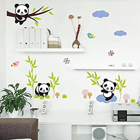 Amazon Com Amaonm Hot Fashion Nursery Room Decor Removable Diy 3d Panda Bamboo Birds Flying Butterfly Wall Decals Kids Room Decorations Wall Stickers Murals Peel Stick Girls For Bedroom Classroom Home Kitchen