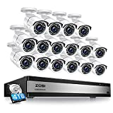 ZOSI H.265+ 1080p 16 Channel Security Camera System, Hybrid 4in1 DVR with Hard Drive 4TB and 16 x 1080p CCTV Bullet Camera Outdoor Indoor with 120ft Long Night Vision and 105°Wide Angle, Remote Access