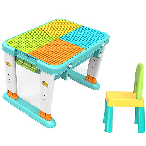 JXSD Mobile Block Table for Toddler, 2-in-1 Activity Play Table Set with Chair, Multi Kids Activity Table Set, Blocks with Moderate Elasticity Will Not Fall, for 2years Old and Up