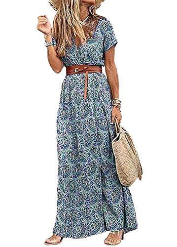 Moceal Damen Kleider Boho Sommerkleid V-Ausschnitt Maxikleid Kurzarm Strandkleid Lang A-Linie Kleid (Grün, XL)