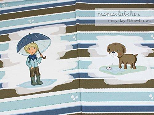Jersey-Stoff Meterware Rainy Day #Blue Brown (ca. 0,55m - 1 Panel)