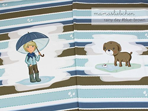Jersey-Stoff Meterware Rainy Day #Blue Brown (ca. 0,55m - 1 Panel)
