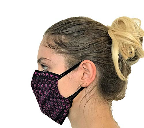 CHANTY Maske aus Spitze - Waschbar - 2-Lagig - Lace Mask Checkered Black Pink - One Size - Made in Germany