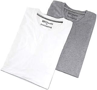 (2 Pack) Santhome Bio180 Men's 180gsm 2 pcs Wholesale/Bulk/Pack Cotton T-Shirts Short Sleeve Crew Neck…