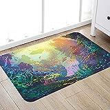 Alfombra de baño súper Suave de 50 x 80 cm,Arte Animales Marinos, Submarino con arrecifes de Coral y Peces de Colores Acuario Arte artístico Alfombra de baño Absorbente Antideslizante