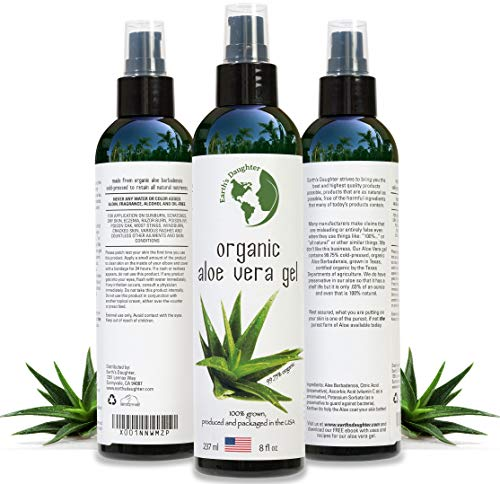Organic Aloe Vera Gel from 100% Pure and Natural Cold Pressed Aloe – Great for Face – Hair – Acne – Sunburn – Bug Bites – Rashes – Eczema – 8 oz. After Sun Aloe Vera Gel