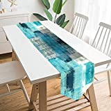 GALMAXS7 Modern Art Table Runner Farmhouse Style Burlap Table Runner Turquoise and Grey Abstract Art Painting Teal Table Runners for Farmhouse Kitchen, Dinner Holiday Parties Decor 13 X 70 Inch