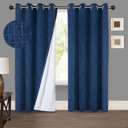 "PANDATEX 100% Blackout Window Curtains Textured Faux Linen Curtains, Grommets Panels Thermal Insulated Noise Reduce for Bedroom Living Room, Good Drape,Set of 2 Curtain Panels,Blue 52""x84"""