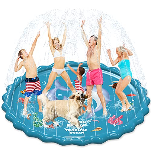 """EPN Splash Pad, 67"""" Sprinkler Play Mat for Kids, Upgraded Summer Outdoor Water Toys Wading Pool for Toddlers Baby Extra Large Outside Party Water Play Mat for 3-12 Years Old Children Boys Girls"""