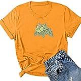 Tianherenjia Lotus Flower Pattern Mujeres Camisa Estética Gráfica Camisetas Divertidas Moda Manga Corta Camisa Algodón Tops, amarillo, L