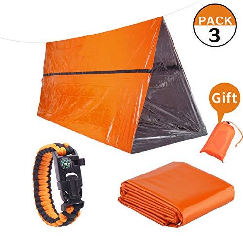 Trousse de survie d'urgence 3 en 1 pour préparation d'urgence en plein air- Tente d'urgence, couvertures d'urgence et bracelet de survie Paracorde - Résistant à la déchirure et couleur orange très vis