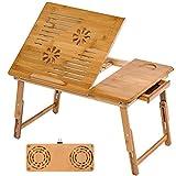 TecTake Mesa para portátil mesita de Cama bambú - Varios Modelos - (55x35cm con Ventilador | no. 401655)