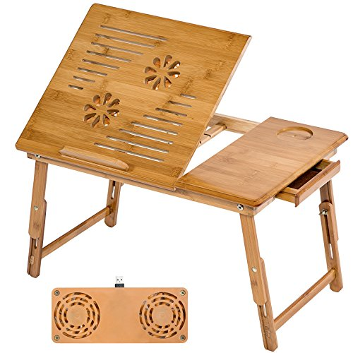 TecTake Mesa para portátil mesita de Cama bambú - Varios Modelos - (55x35cm con Ventilador   no. 401655)