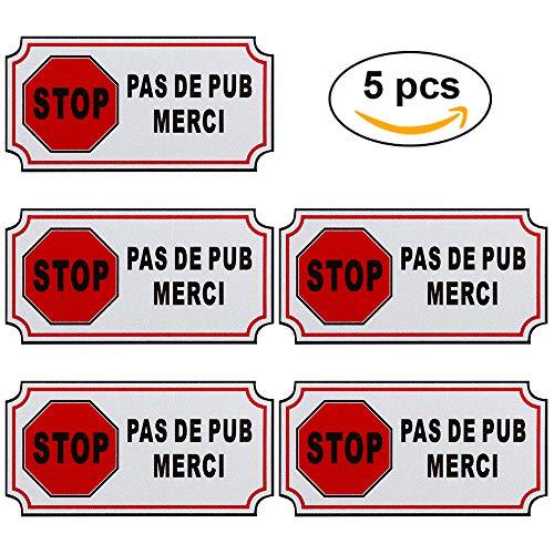 Faburo 5pcs Petit Autocollant Sticker adhésif Pas DE PUBLICITE ou Stop PUB
