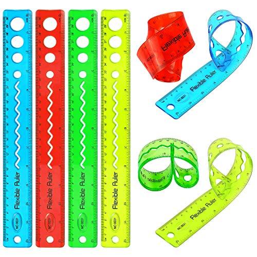 AIEX 8 Pack 4 Farbe Flexibles Lineal 12 Zoll Weich Lineal Transparent Plastik Lineal mit Zoll und Metrisch Perfect für Studenten Schule Büro und Hausbedarf