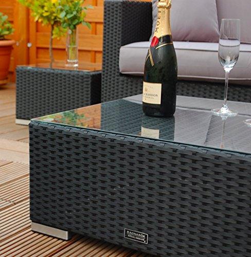 Ragnarök-Möbeldesign PolyRattan Lounge DEUTSCHE Marke - EIGNENE Produktion - 7 Jahre GARANTIE Garten Möbel incl. Glas und Polster (schwarz) Gartenmöbel - 6