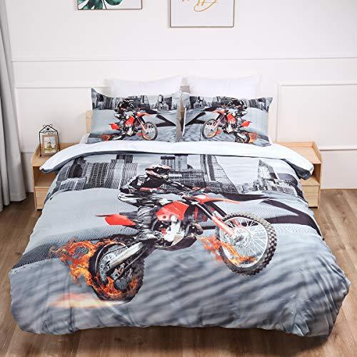 WONGS BEDDING Bettwäsche 200x200 cm Bettbezug Set Wendebettwäsche Angenehme Mikrofaser 3D Motorrad Bettbezüge 1 Bettbezug 200 x 200 cm mit Reißverschluss + 2 Kissenbezüge 48 x 75 cm