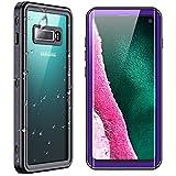 "SPIDERCASE for Samsung Galaxy S10 Waterproof Case, Built-in Screen Protector Fingerprint Unlock with Film, Shockproof Full Body Cover Waterproof Case for Samsung Galaxy S10 6.1"", Purple/Clear"