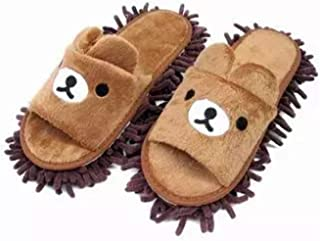 Liitrton 1 Pair Detachable Mop Slippers Shoes Microfiber Chenille Soft Comfortable Dust Dirt Hair Cleaner (Coffee)