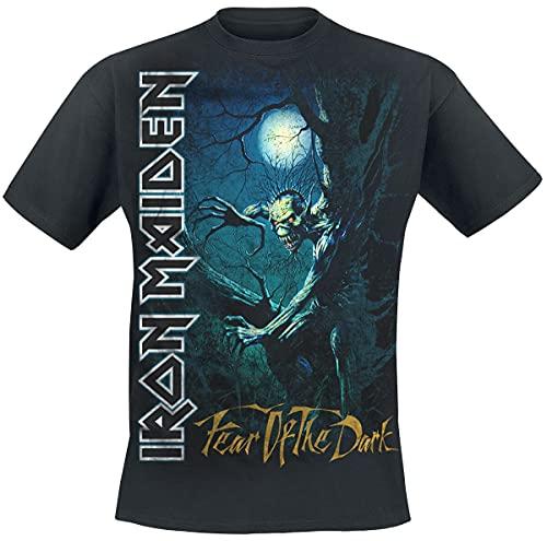 Iron Maiden Fear of The Dark Hombre Camiseta Negro L, 100% algodón, Regular