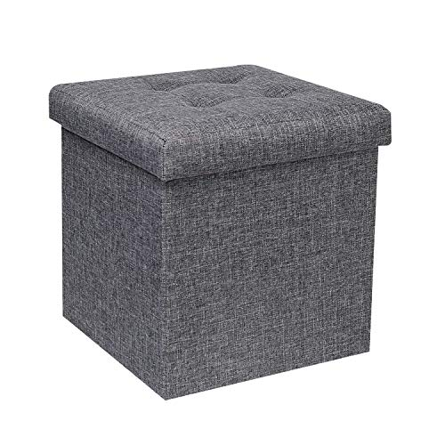 B FSOBEIIALEO Storage Ottoman Cube, Toy Chest Folding Footrest Stool Seat, 12.6'X12.6'X12.6' (Linen Grey)