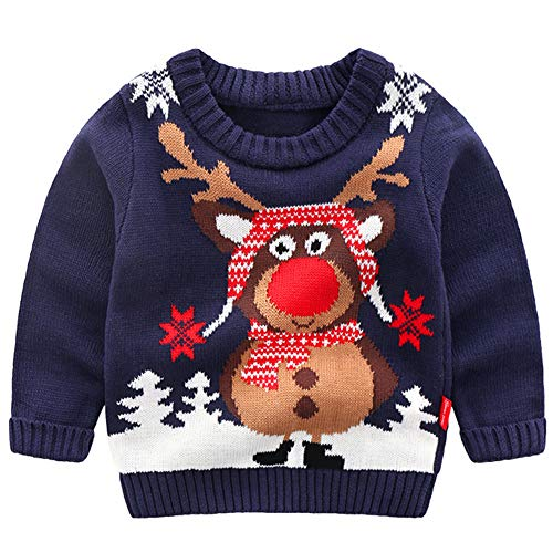 G-Kids Kinder Mädchen Jungen Weihnachtspullover Strickjacken Gestrickt Strickpullover Herbst Winter Langarm Sweater Pullis Dunkelblau 110