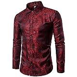 Sliktaa - Camisa Casual - con Botones - Manga Larga - para Hombre Rojo Rojo Vino M