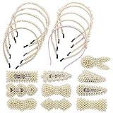 Diademas de Perlas de Imitación, Jicyor 20pcs Diadema de Perlas Sintéticas Pasadores de Perlas Artificiales para Mujer Novia Boda Elegante Hecho Mano Regalos Cumpleaños San Valentín