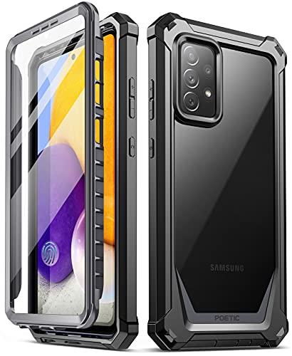 Poetic Guardian Series Custodia progettata per Samsung Galaxy A72, Full Body Hybrid antiurto Custodia protettiva trasparente, protezione schermo integrata, nero/trasparente