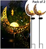 Solar Powered Garden Lights, 2 Pack Antique Brass Hollow-Carved Metal Moon with Warm White Crackle Glass Globe Stake Lights,Waterproof Outdoor for Lawn,Patio,Yard