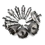 MOLATE 10PCS 超硬 ホールソー セット ドリルビット 16mm、18mm、19mm、22mm、25mm、30mm、35mm、42mm、50mm、53mm 切削 工具 DIY 穿孔 掘削 電動ドリル用