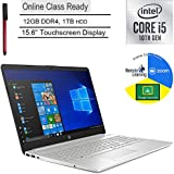 "HP 15 Laptop Computer_10th Gen Intel i5 1035G1(Beats i7-7500U) _15.6"" Touchscreen _12GB DDR4 _1TB HDD_Webcam_ Microphone_ Online Class Ready _Windows 10 _BROAGE 3-in-1 Stylus 64GB Flash Drive"